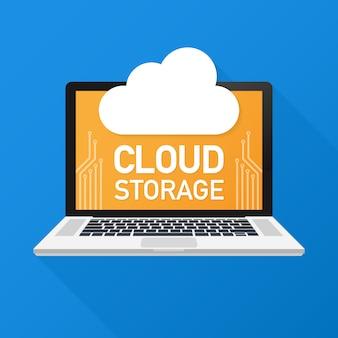 Stockage en ligne. concept de sauvegarde sur le cloud. illustration de conception basse poly. la technologie.