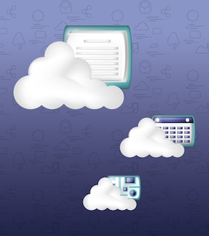 Stockage en nuage avec document et dossier