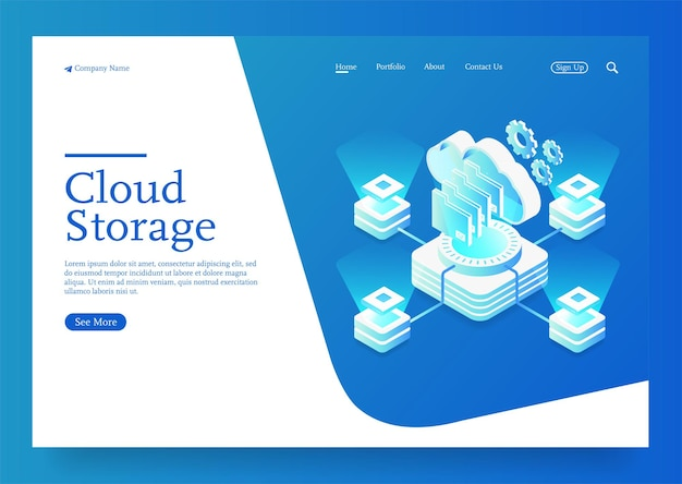 Stockage en nuage télécharger illustration vectorielle isométrique service ou application numérique avec transfert de données