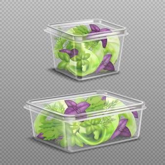 Stockage en plastique de salade fraîche transparent