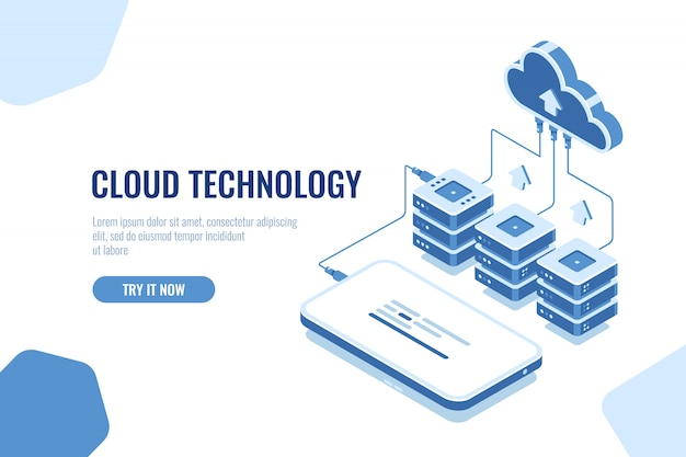 Stockage et transfert de données en technologie cloud isométrique, téléchargement de données de téléphone mobile