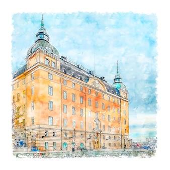 Stockholm suède aquarelle croquis illustration dessinée à la main