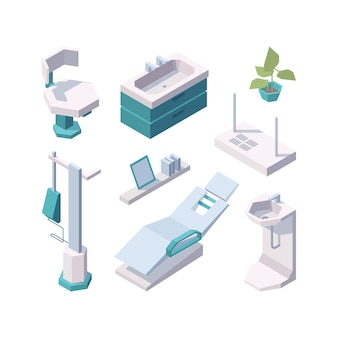 Stomatologie. outils de clinique de soins de santé médicaux sains professionnels meubles de chaise dentaire clinique vecteur isométrique. équipement de dentisterie d'illustration, cabinet de dentiste intérieur