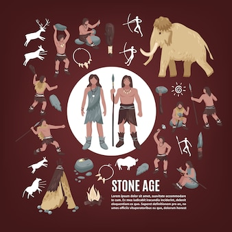 Stone age people icons set