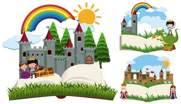 Storybook avec des personnages et des châteaux de conte de fées