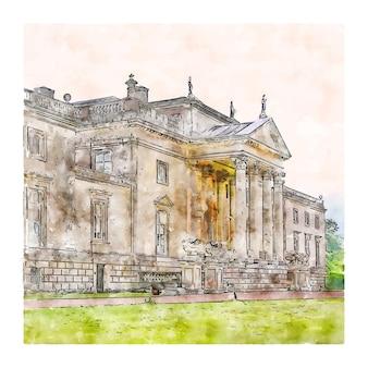 Stourhead national trust royaume-uni croquis aquarelle illustration dessinée à la main