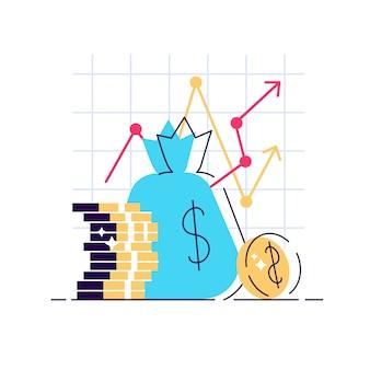 Stratégie d'augmentation des revenus. retour sur investissement financier élevé, levée de fonds ou taux d'intérêt de croissance des revenus.