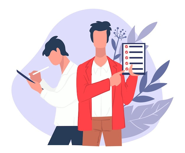 Stratégie commerciale ou chef d'entreprise donnant des tâches. homme d'affaires avec liste de contrôle dans le presse-papiers. gestion au travail ou questionnaire. inspection et recherches, vecteur de questions et réponses dans un style plat