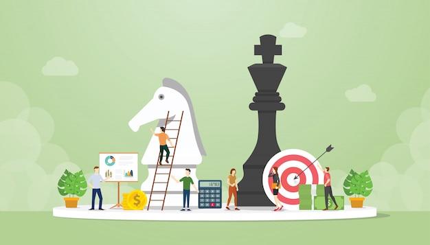 Stratégie commerciale intelligente avec pion d'échecs avec objectifs et objectif financier avec un style plat moderne