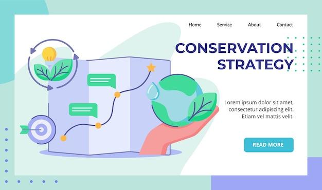 Stratégie de conservation main tenir la planification de la terre cible carte voyage campagne lampe ampoule feuille