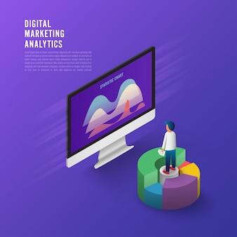 Stratégie d'entreprise concept design plat. 3d design plat isométrique. données d'analyse et investissement.