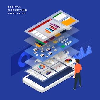 Stratégie d'entreprise de concept. plat isométrique. analyse des données et investissement. succès commercial revue financière avec ordinateur portable et éléments infographiques. illustration.