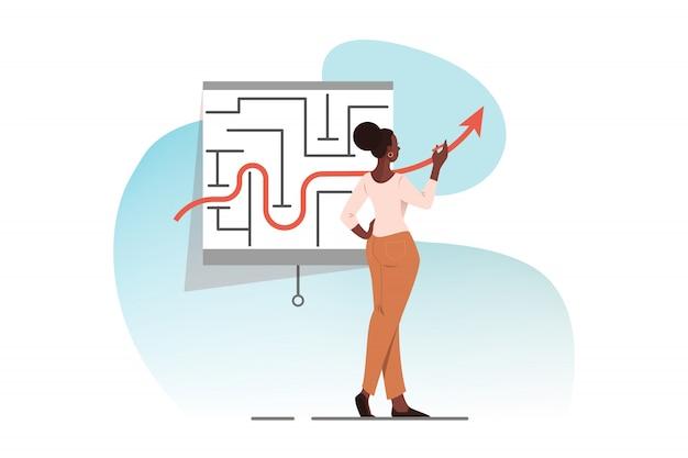 Stratégie d'entreprise, tactique, solution, problème, concept de réussite