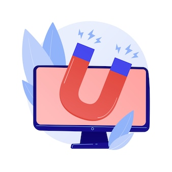 Stratégie marketing d'attraction client. ciblage numérique, campagne publicitaire, génération de leads. aimant sur écran d'ordinateur illustration de concept d'élément de conception isolé