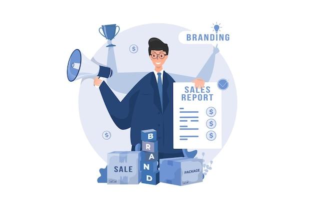 Stratégie marketing avec concept d'illustration multitâche