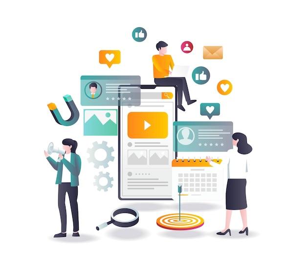 Stratégie de marketing des médias sociaux au design plat
