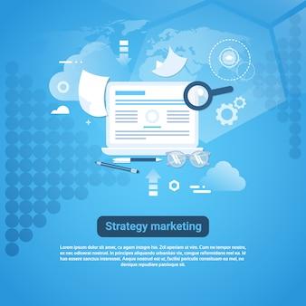 Stratégie marketing web banner avec espace de copie sur fond bleu