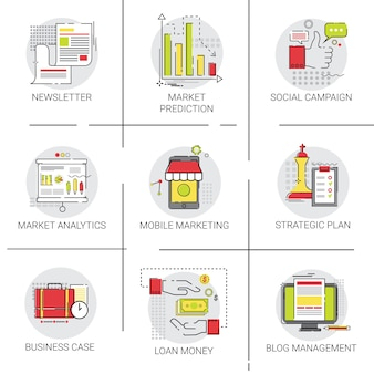 Stratégie plan marketing investissement business idea icon set