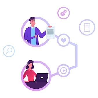 Stratégie de programme de référence, marketing de réseau, concept de partenariat d'affiliation. illustration plate de dessin animé