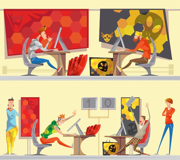 Stratégie de stratégie en temps réel de jeux vidéo de compétition esport 2 bannières de bande dessinée plate avec des joueurs de cybersport isol