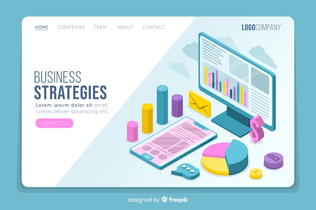Stratégies commerciales page d'atterrissage isométrique