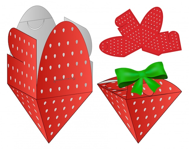 Strawberry box packaging die cut design template.