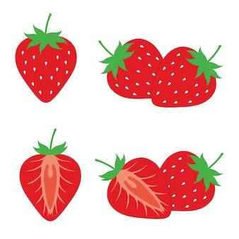 Strawberry fruit et strawberry slice design vector set