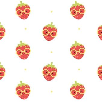 Strawberry porter des lunettes de soleil seamless pattern