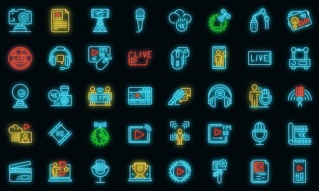 Stream icons set vector néon