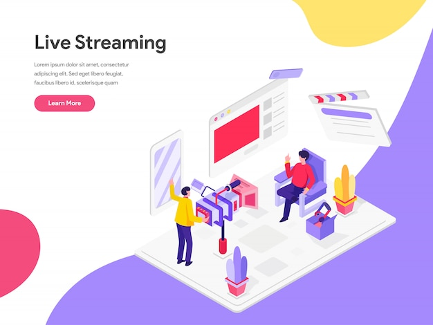 Streaming en direct concept d'illustration isométrique
