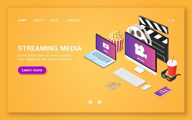 Streaming multimédia sur différents appareils par abonnement. page de destination des médias en streaming