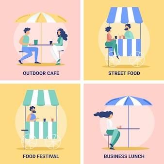 Street food cafe, festival banners set