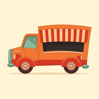Street food fastfood foodtruck design plat illustration vectorielle