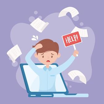 Stress au travail, employé stressé avec plaque d'aide lors d'un appel vidéo