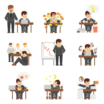 Stress au travail ensemble d'icônes