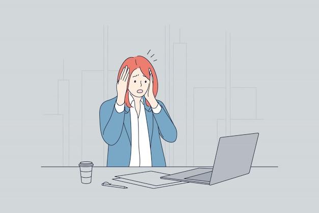 Stress, frustration, dépression, peur, affaires, surmenage, notion de délai