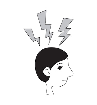 Stress et problèmes psychologiques vector icon profil de style de ligne plate d'un homme