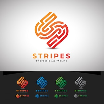 Stripes abstract s letter logo