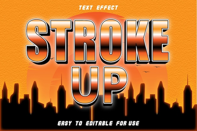 Stroke up effet de texte modifiable emboss style rétro