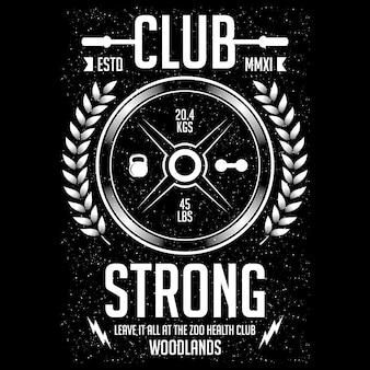 Strong club, sport illustration design