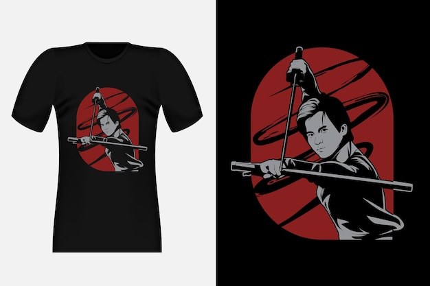 Strong samurai street wear t-shirt design illustration