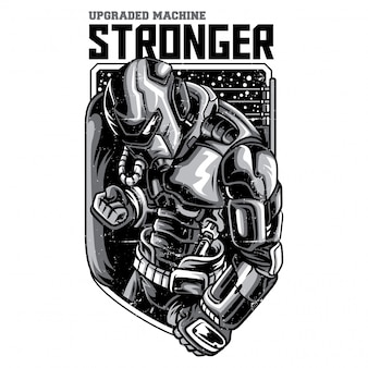 Stronger robot illustration en noir et blanc