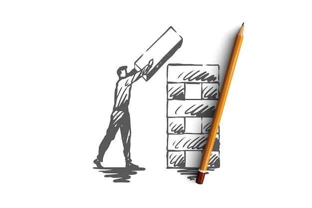 Structuration, élément, organisation, concept d'entreprise. croquis de concept de structure d'organisation de l'homme dessiné à la main.