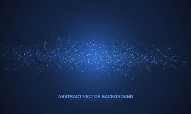 Structure de connexion réseau numérique abstraite sur fond bleu. concept technologique, réseau mondial big data.