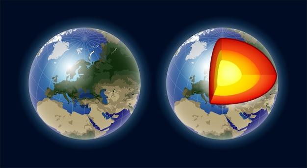 Structure du noyau terrestre - illustration vectorielle moderne isolée réaliste sur fond sombre. géographie, concept de cartographie. parfait comme aides visuelles, présentations. utilisez cette image clipart pour les leçons