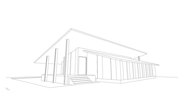 Structure filaire d'architecture moderne, arrière-plan architectural abstrait, illustration 3d