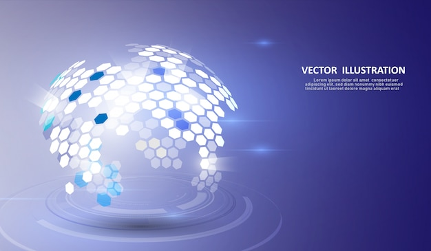 La structure moléculaire formait la terre et la technologie en trois dimensions.