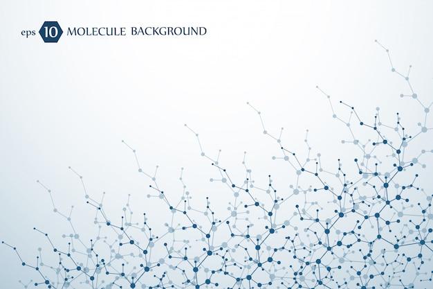 Structure moléculaire avec particules. recherche médicale scientifique. contexte scientifique et technologique. concept moléculaire.
