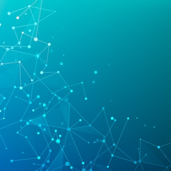 Structure polygonale plexus des tableaux de données ou du réseau. visualisation des données numériques. molécule de fond graphique géométrique et communication. complexe de big data avec des composés. illustration