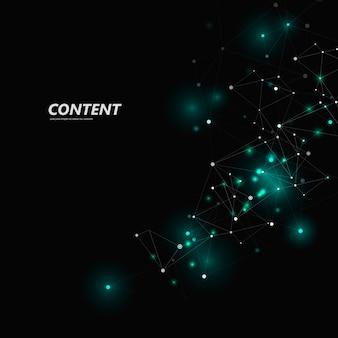 Structure triangulaire abstraite. conception de réseau avec point et ligne de connexion, fond d'espace sombre